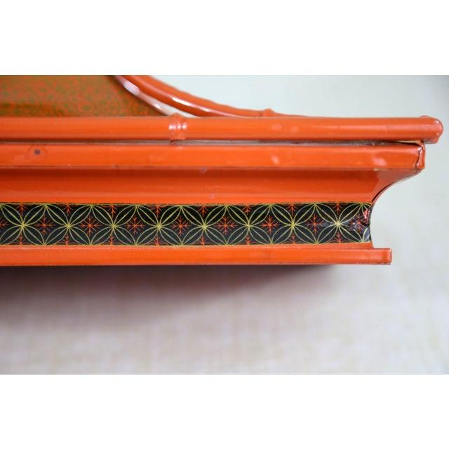 1970s Decorative Orange Metal Pagoda For Sale - Image 5 of 11