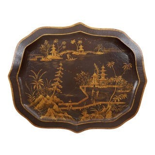 Vintage Chinoiserie Tray With Dark Background and Handpainted Oriental Scenery in Gold Color For Sale