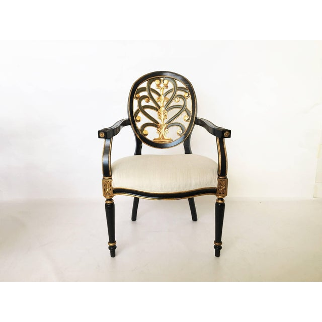 Hollywood Regency Pair of Elegant Sheraton Style Lacquer and Gilt Carved Armchairs For Sale - Image 3 of 9