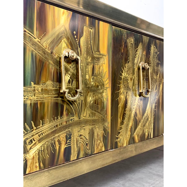 Gold Bernhard Rohne Acid Etched Brass Credenza for Mastercraft 1970's For Sale - Image 8 of 13