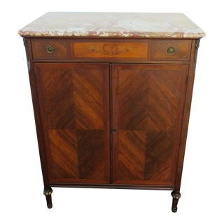 French Inlay Carved Tall Marble Top Chest of Drawers With Bronze Accent For Sale