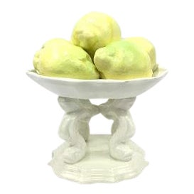 Early Spanish Lemon Pedestal Dish For Sale