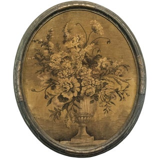 Antique Victorian Shabby Monochrome Urn Oval Framed Tapestry