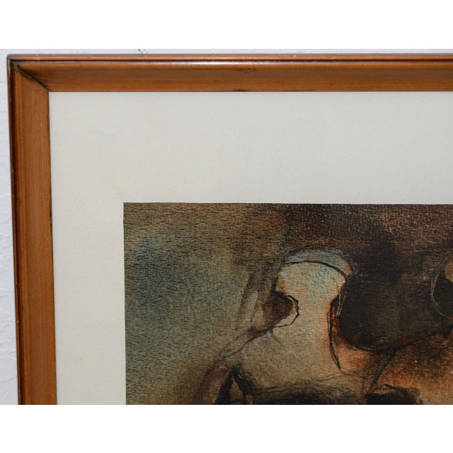 """Mid 20th Century Mid Century Modern """"Family Group"""" Mixed Media Painting C.1961 For Sale - Image 5 of 11"""