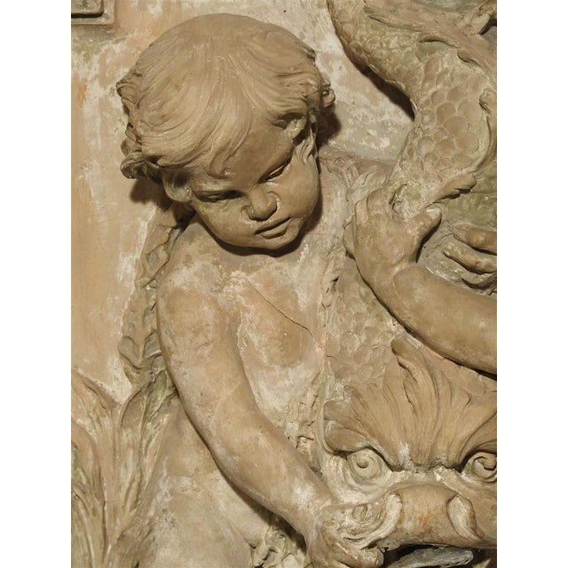 Orange Antique French Terra Cotta Fountain Back, Circa 1860 For Sale - Image 8 of 13