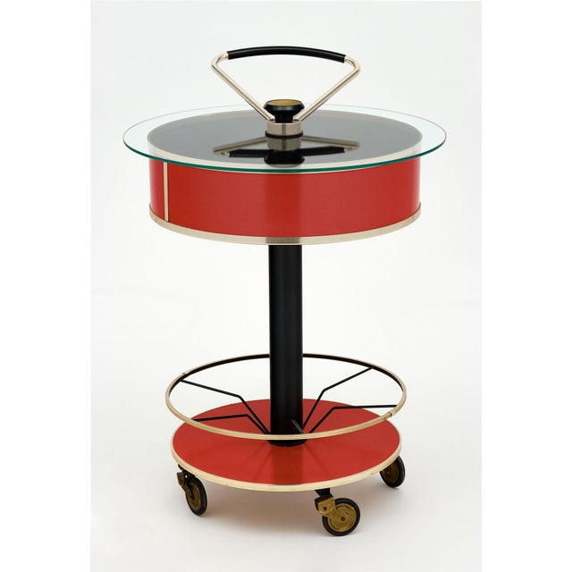 Metal Italian Hydraulic Bar Cart For Sale - Image 7 of 10