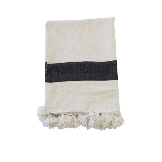 Islamic Moroccan Pom Pom Blanket, Black on White For Sale - Image 3 of 3