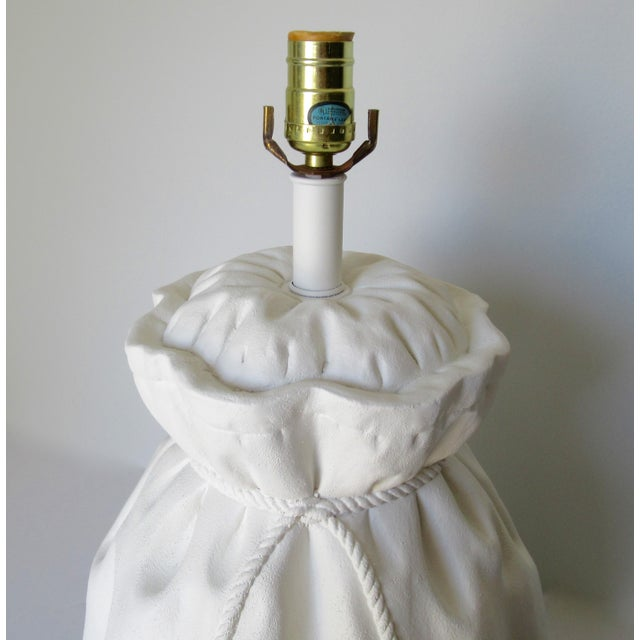 Brass John Dickinson-Style Draped Plaster Rope Cinched Lamp For Sale - Image 7 of 13