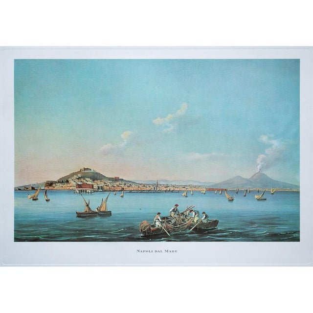 "Rare original large offset lithograph after painting ""Napoli dal Mare"" (Naples from the Sea) by unknown artist of the..."