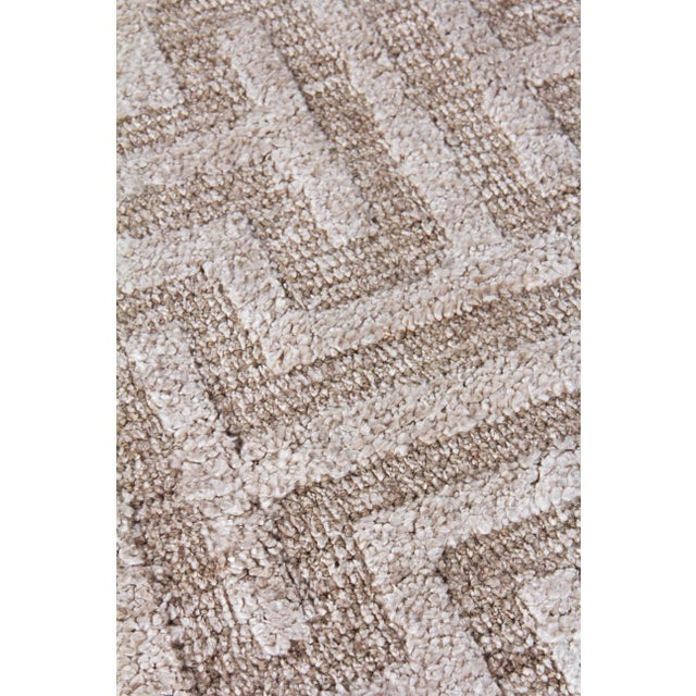 Contemporary Exquisite Rugs Bazas Handwoven Cotton & Viscose Beige - 12'x15' For Sale - Image 3 of 8