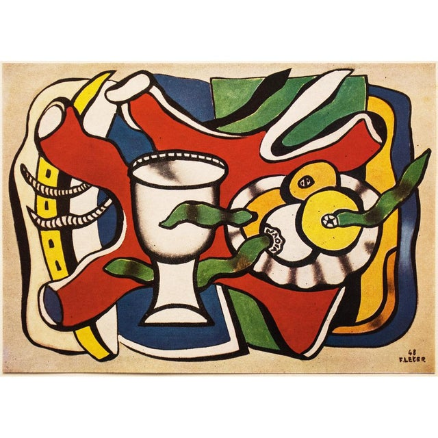 """Green 1948 Fernand Léger Original """"Still Life With a White Vase"""" Period Lithograph For Sale - Image 8 of 8"""