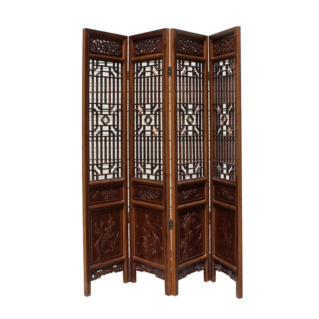 Asian Chinese Brown Geometric Pattern Theme Wood Panel Floor Screen For Sale - Image 3 of 8