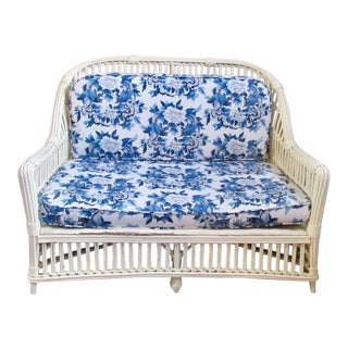 1970s French Country Blue and White Upholsterd Rattan Custom Bench