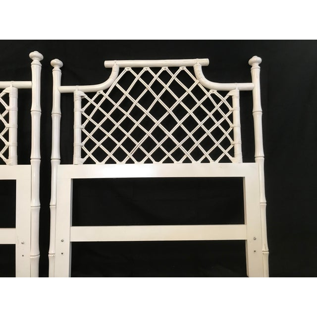 White 1970s Ficks Reed Twin or King Faux Bamboo Hollywood Regency Pagoda Headboards - a Pair For Sale - Image 8 of 13