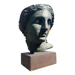 1960s Mid Century Terracotta Classical Bust Statue For Sale