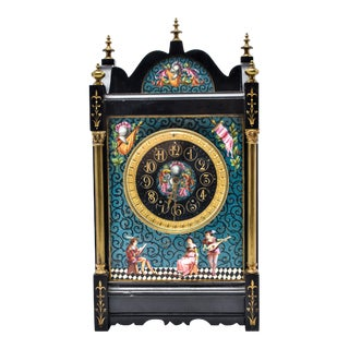 Eastlake Mantel Clock in Black Marble and Enamel For Sale