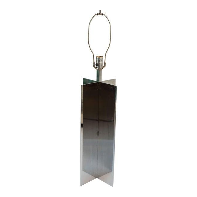 Vintage Jean Michael Frank Croisillon Style Chrome Table Lamp For Sale