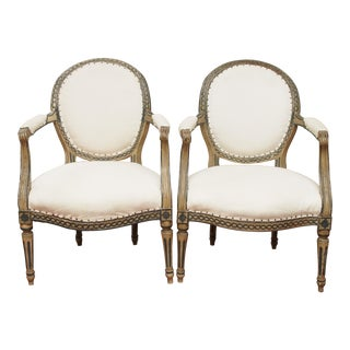 PAIR OF LOUIS XVI PAINTED FAUTEUILS For Sale