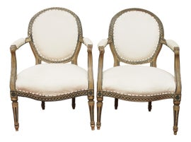 Image of Antique White Bergere Chairs