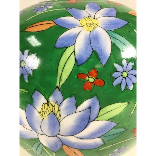 Asian Hand Painted Floral Painted Vase For Sale - Image 3 of 4