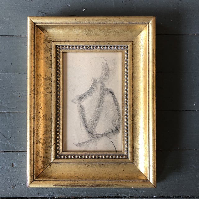 Vintage Original Abstract Charcoal Study Drawing 1950's Framed For Sale - Image 4 of 4