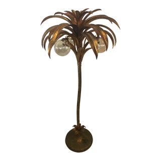Vintage Palm Tree Brass Floor Lamp