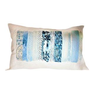 Light Blue Colorway Lumbar Linen Pillow For Sale