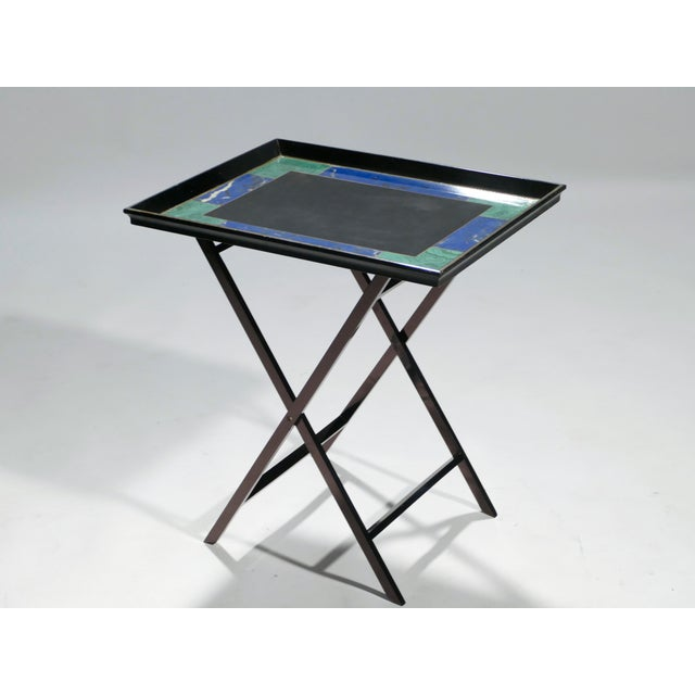 Hollywood Regency Christian Dior Faux Malachite Folding Tray Table, 1970s For Sale - Image 3 of 11