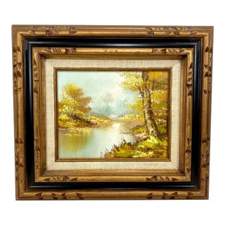 Forest Brook Among Trees Oil Painting For Sale
