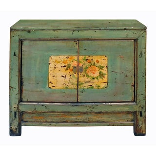 Chinese Floral Cabinet in Crackle Blue-Gray For Sale