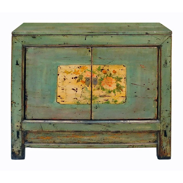 Chinese Floral Cabinet in Crackle Blue-Gray - Image 1 of 8