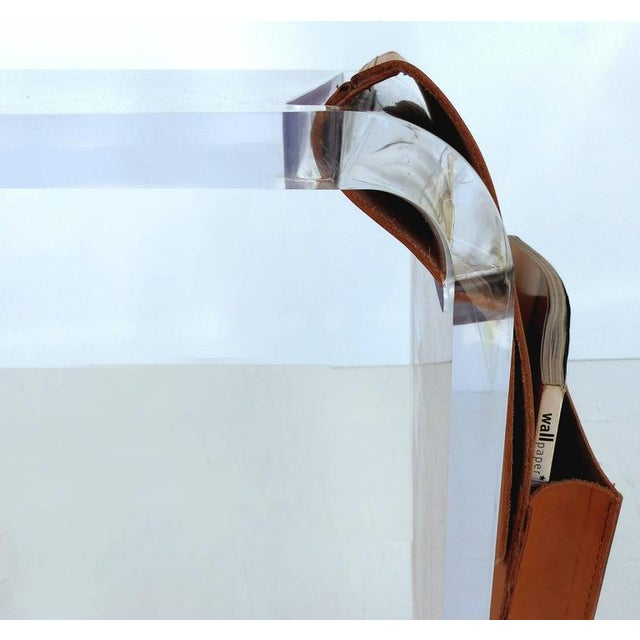 Custom-Made Lucite Side Table with Leather Magazine Pocket For Sale In Miami - Image 6 of 10