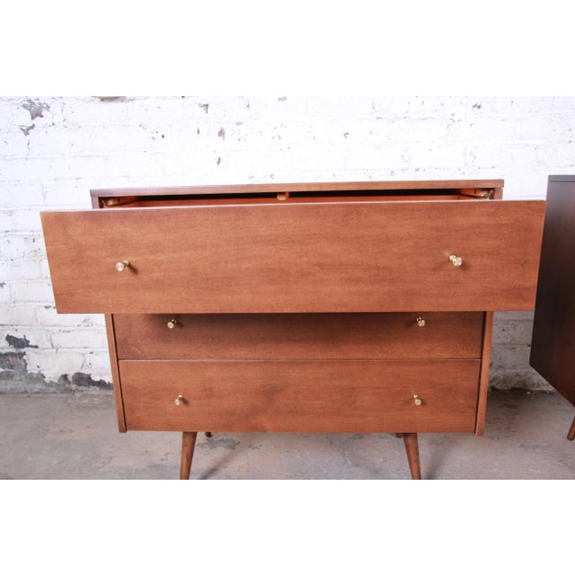 1950s Paul McCobb Planner Group Three-Drawer Bachelor Chests or Large Nightstands, Pair For Sale - Image 5 of 13