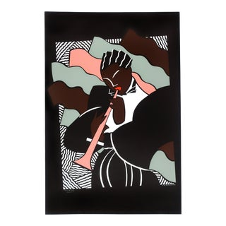 John Martinez 1980's Deco Jazz Player Serigraph by Mirage Editions For Sale