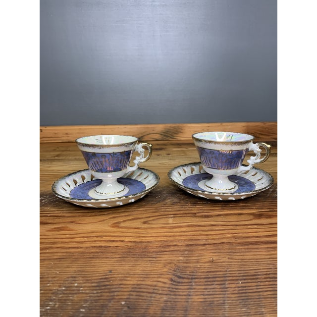 Vintage Blue and Pearlescent Tea Set For Sale - Image 11 of 11