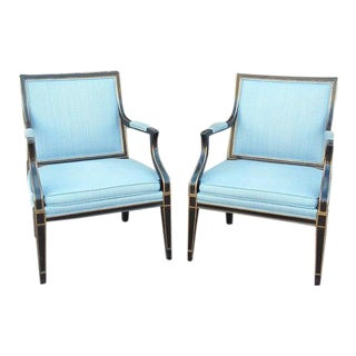 Black Lacquer Arm Chairs-A Pair For Sale
