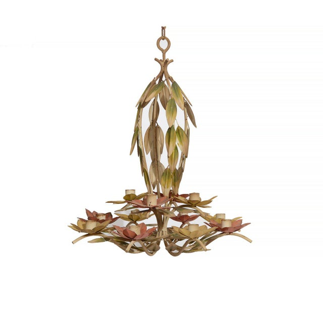 1960s Green and Pink Tole Floral Candle Chandelier For Sale - Image 4 of 4