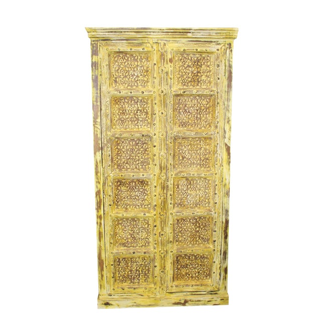 Vintage Yellow Antique Carved Detail Indian Armoire For Sale