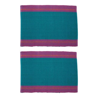 Aadil Placemats Turquoise & Fuchsia - A Pair For Sale