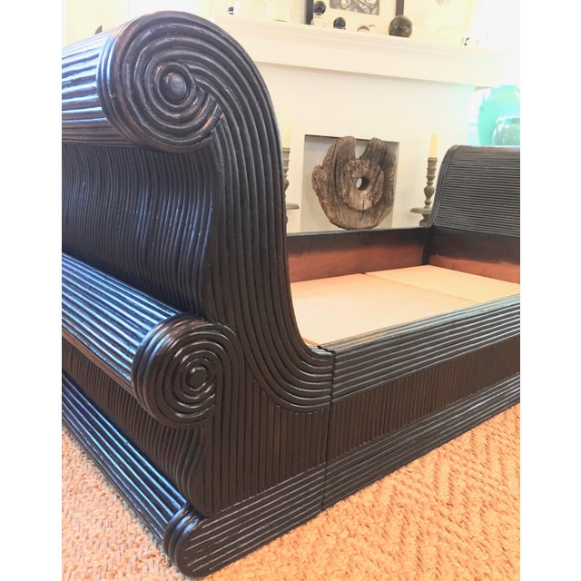 Exotic Asian Split Dark Dyed Reed Rattan Daybed For Sale - Image 12 of 13