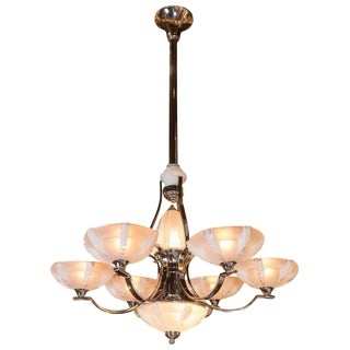 French Art Deco Polished Chrome and Frosted Glass Six-Arm Chandelier by Sabino For Sale