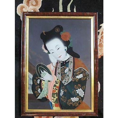 Mid 20th Century Asian Glass Reverse Painting of Geisha For Sale In Portland, OR - Image 6 of 6