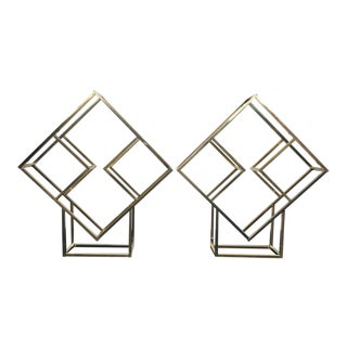 Gold Milo Baughman Style Diamond Etagères - a Pair