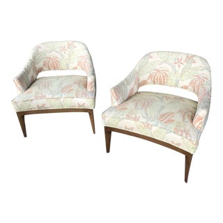 1960s Mid-Century Modern Harvey Probber Beige Fabric Armchairs - a Pair For Sale