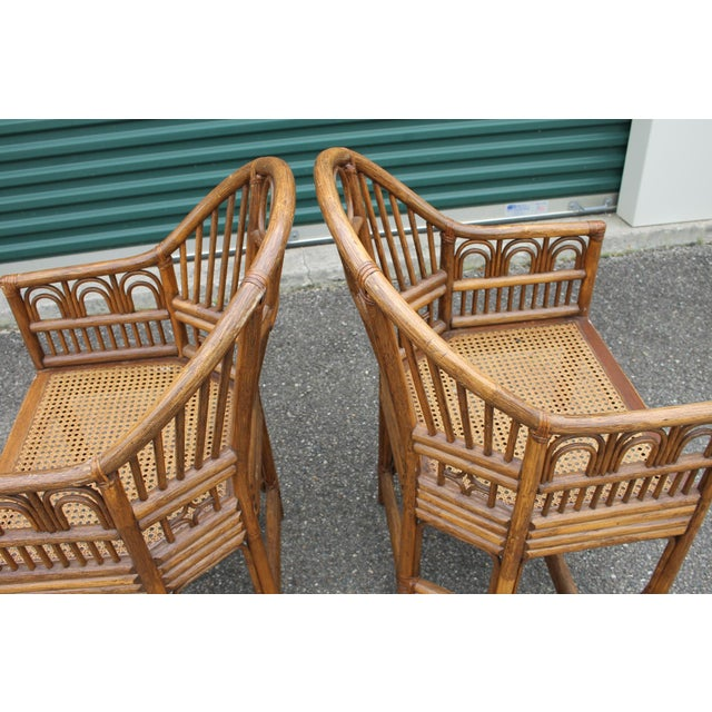Tan Chinoiserie Bamboo Rattan Brighton Pavilion Chairs - a Pair For Sale - Image 8 of 9