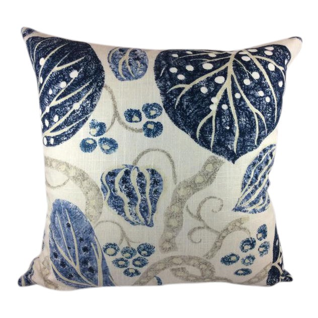 "William Yeoward ""Astasia"" in Navy Ikat Block Print Floral Pillows - a Pair For Sale In Atlanta - Image 6 of 6"