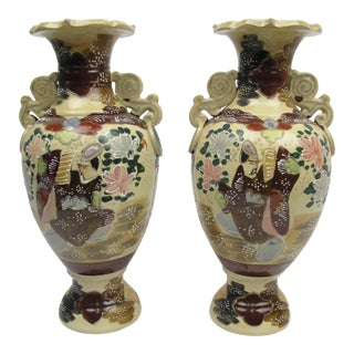 Antique Satsuma Vases With Slip Trail Decoration - a Pair For Sale