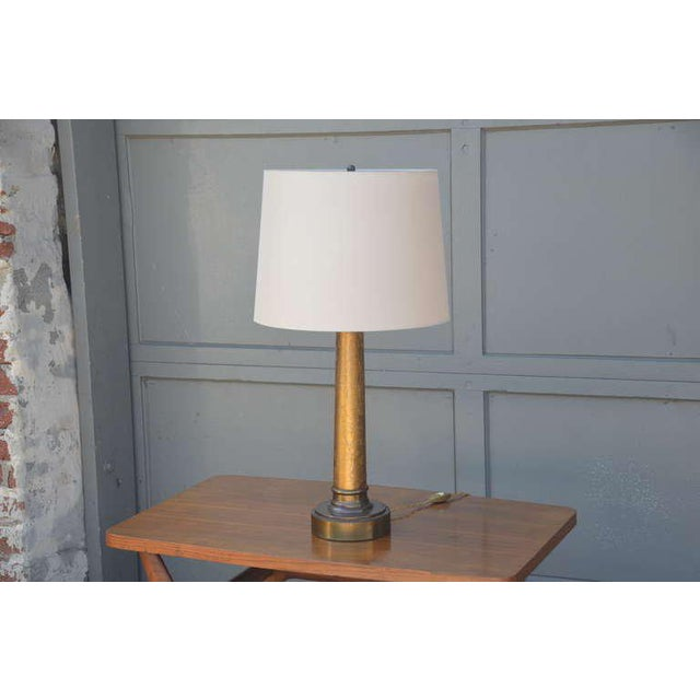Brass Pair of Chic Crackled Glass Column Lamps by Paul Hanson For Sale - Image 7 of 10
