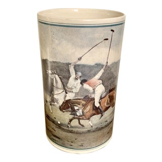 Vintage Porcelain Polo Players Wine Cooler For Sale