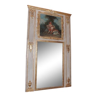 19th Century French Gilt Wood Painted Trumeau For Sale